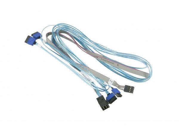 Supermicro - Internes SAS-Kabel - mit Sidebands - 4x Mini SAS HD (SFF-8643) (M) bis SATA, Seitenband (W) - 75 cm