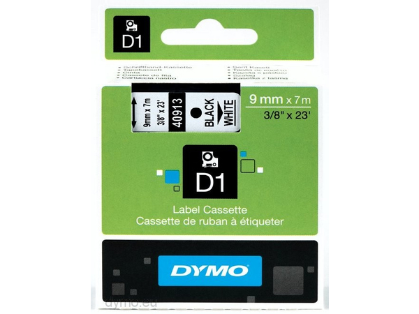 DYMO D1-Schriftband 9mmx7m schwarz auf weiß