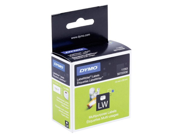 DYMO LabelWriter MultiPurpose - Etiketten - permanent adhesive - weiß - 12 x 24 mm 1000 Etikett(en) (1 Rolle(n) x 1000) - für DYMO LabelWriter