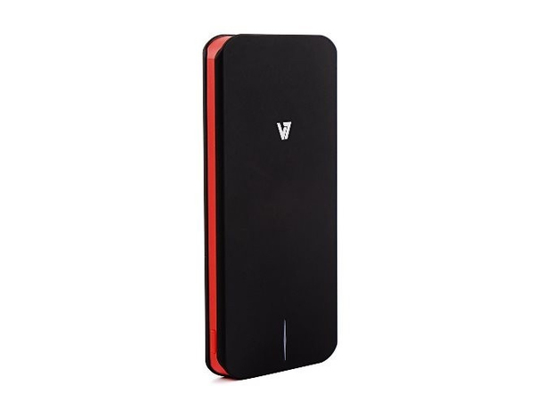 V7 Slim Series - Ladegerät 5000 mAh - 2.1 A (USB (nur Strom)) - auf Kabel: Micro-USB - Schwarz