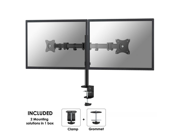 NewStar Full Motion Dual Desk Mount (clamp & grommet) NM-D135DBLACK - Befestigungskit (Spannbefestigung für Tisch, Tischplattenbohrung, 2 Klammern) für 2 LCD-Displays - Schwarz - Bildschirmgrö