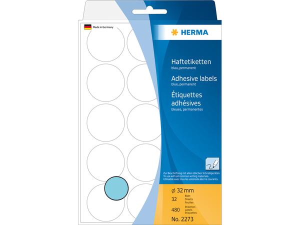 HERMA Vielzwecketiketten/Farbpunkte Ø 32 mm rund blau Papier matt Handbeschriftung 480 St., Blau, Kreis, Zellulose, Papier, Deutschland, 32 mm, 32 mm