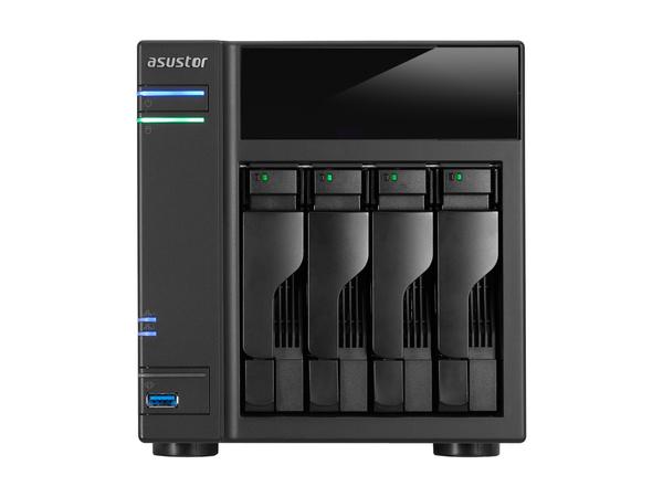 ASUSTOR AS6104T - NAS-Server - 4 Schächte - SATA 6Gb/s / eSATA 6Gb/s - RAID 0, 1, 5, 6, 10, JBOD - Gigabit Ethernet