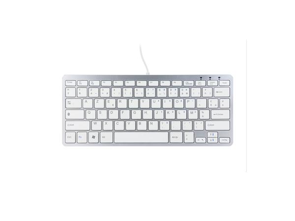 R-Go Tools Compact Tastatur, AZERTY(FR), weiß, drahtgebundenen, USB, AZERTY, Französisch, Verkabelt, Mini, Gerade