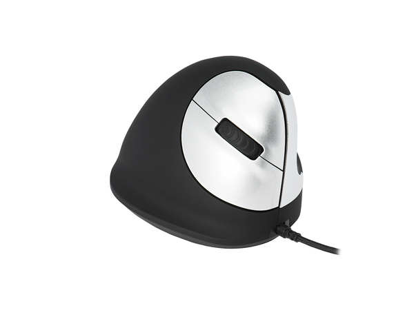 Human Ergonomics HE Mouse - Maus - 5 Tasten - verkabelt - USB - Schwarz/Silber