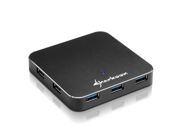 Sharkoon 7-Port USB 3.0 Aluminium Slim Hub - Hub - 7 x SuperSpeed USB 3.0 - Desktop