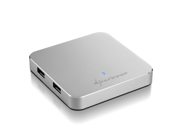 Sharkoon 4-Port USB 3.0 Aluminium Slim Hub - Hub - 4 x SuperSpeed USB 3.0 - Desktop
