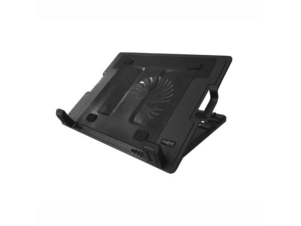 Ewent EW1258 - Notebook-Lüfter - mit 2-Port-USB-Hub - 125 mm - Schwarz
