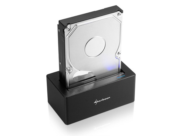 Sharkoon QuickPort - Speicher-Controller mit Datenanzeige, Netzanzeige, Ein/Aus-Schalter, Schlafmodus - 6,4 cm/8,9 cm gemeinsam genutzt (2,5