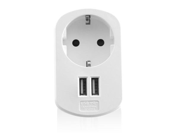 Ewent - Stromadapter - AC / USB - 3.1 A - 2 Ausgabeanschlussstellen (USB (nur Strom))