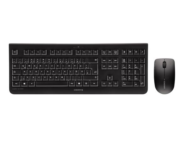 CHERRY DW 3000 - Tastatur-und-Maus-Set - drahtlos - 2.4 GHz - Layout für Großbritannien - Schwarz