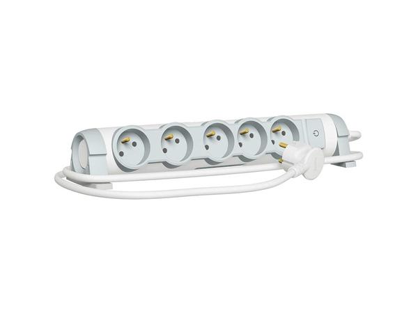 C2G Multi-Outlet Extension for Comfort - Verlängerungsschnur - Wechselstrom 230 V - 3500 Watt - Eingabe, Eingang Stromversorgung - Ausgangsbuchsen: 5 (3-polig (Frankreich/Belgien))