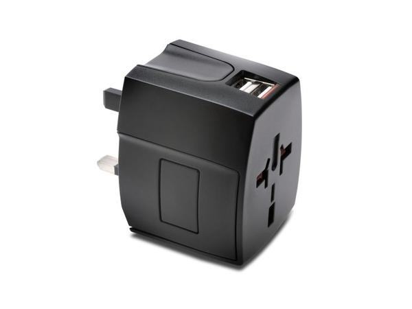 Kensington International Travel Adapter - Netzteil (Stromversorgung, 2 x USB (nur Strom)) - Schwarz - Australien, China, Japan, Großbritannien und Nordirland, Vereinigte Staaten, Europa