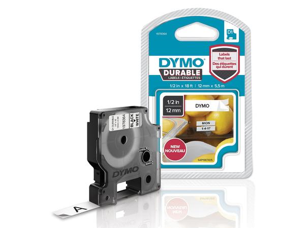 DYMO D1-Schriftband Vinyl 12mmx5,5m schwarz auf weiß