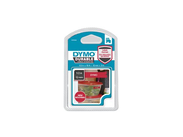 DYMO D1-Schriftband Vinyl 12mmx3m weiß auf rot