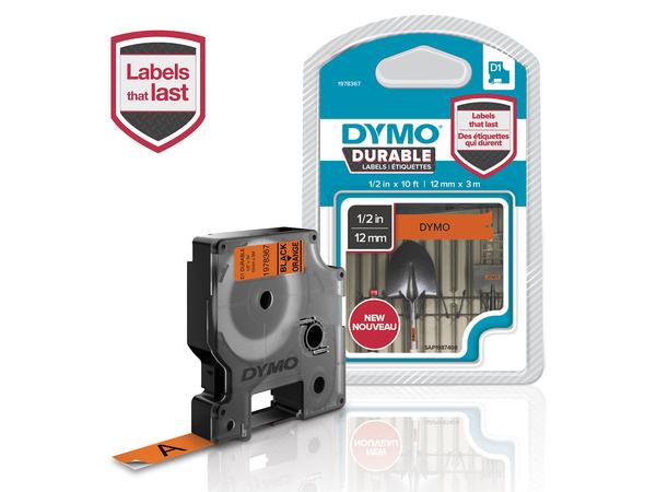 DYMO D1 - Selbstklebend - Schwarz auf Orange - Rolle (1,2 cm x 3 m) 1 Rolle(n) Etikettenband