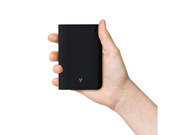 V7 - Ladegerät Li-Ion 10000 mAh - 2.1 A - 2 Ausgabeanschlussstellen (USB (nur Strom)) - Schwarz