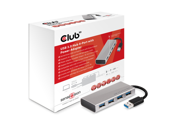Club 3D SenseVision CSV-1431 - Hub - 4 x SuperSpeed USB 3.0 - Desktop