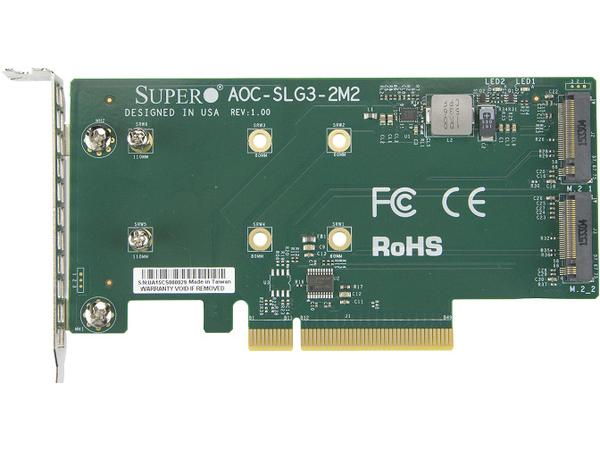 Supermicro AOC-SLG3-2M2, PCIe, NVMe, Niedriges Profil, Grün, 10 - 55 °C, 68,8 mm