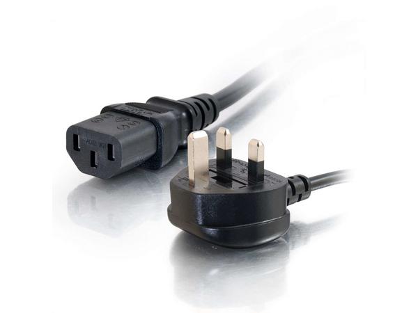 C2G Universal Power Cord - Stromkabel - BS 1363 (M) bis IEC 60320 C13 (M) - 2 m - geformt - Schwarz