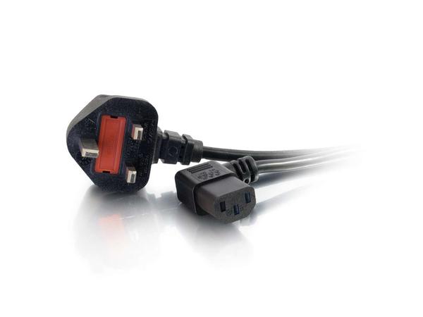 C2G Universal Power Cord - Stromkabel - BS 1363 (M) bis IEC 60320 C13 (M) - 5 m - 90° Stecker, geformt - Schwarz