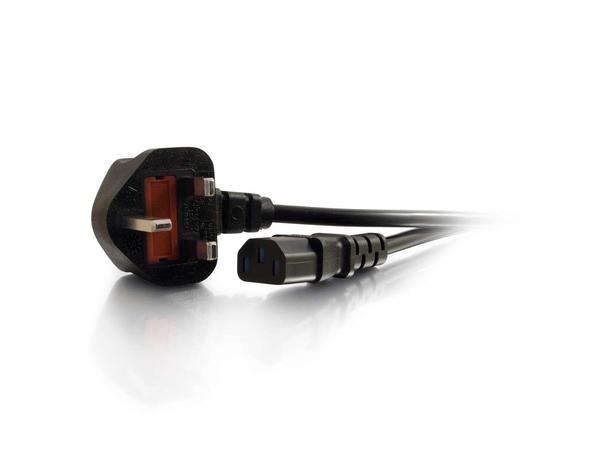 C2G Universal Power Cord - Stromkabel - BS 1363 (M) bis IEC 60320 C13 (M) - 10 m - geformt - Schwarz