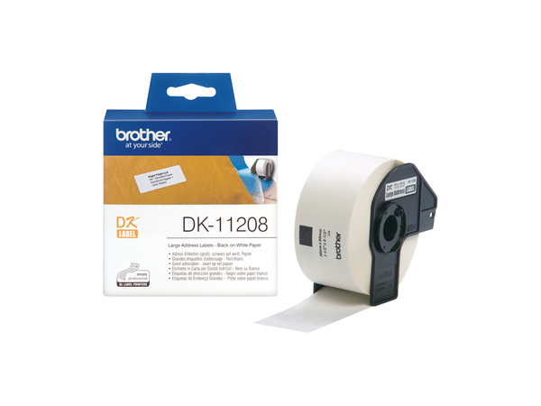 Brother DK-11208 - 400) Adressetiketten - für Brother QL-1050, QL-500, QL-550, QL-560, QL-650, QL-700, QL-710, QL-720