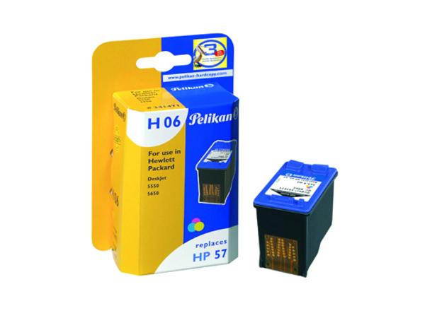 Pelikan H06 - 17 ml - Farbe (Cyan, Magenta, Gelb) - Tintenpatrone (entspricht: HP 57 ) - für HP Deskjet 51XX, 55XX, 56XX, F4135, F4140, F4180; Officejet 42XX, 610; psc 12XX, 13XX