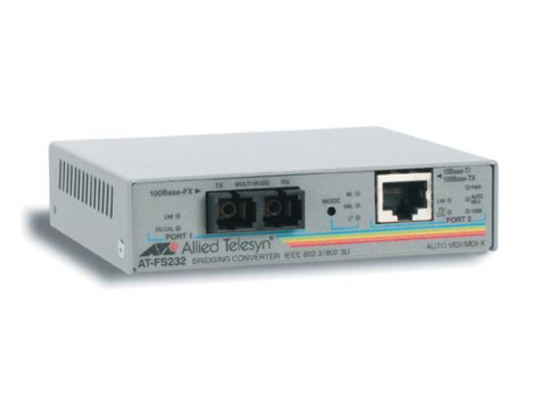 Allied Telesis AT FS232 - Medienkonverter - Fast Ethernet - 10Base-T, 100Base-FX, 100Base-TX - RJ-45 / SC multi-mode - bis zu 2 km