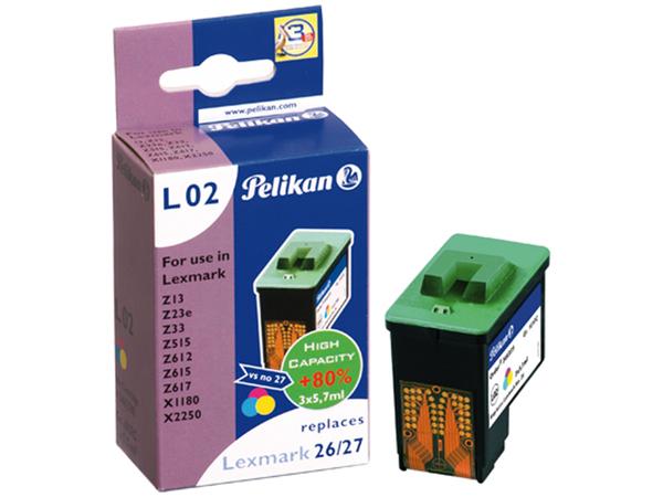 Pelikan L02 - 17 ml - Farbe (Cyan, Magenta, Gelb) - Tintenpatrone (entspricht: Lexmark 10N0026 (#26), Lexmark 10N0227 (#27) ) - für Lexmark X11XX, 22XX, 75; Z13, 23, 25, 33, 35, 515, 601, 602,