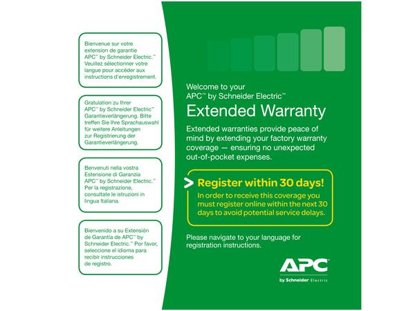 APC Extended Warranty Service Pack - Serviceerweiterung - Arbeitszeit und Ersatzteile - 3 Jahre - Bring-In - Reaktionszeit: am nächsten Arbeitstag