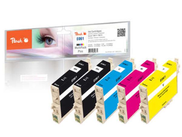 Peach Multi Pack Plus E061 - 5er-Pack - 8 ml - Schwarz, Gelb, Cyan, Magenta - Tintenpatrone (Alternative zu: Epson T0611, Epson T0612, Epson T0613, Epson T0614) - für Epson Stylus D68, D88, DX
