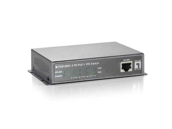 LevelOne FSW-0503 - Switch - 4 x 10/100 (PoE) + 1 x 10/100 - Desktop - PoE