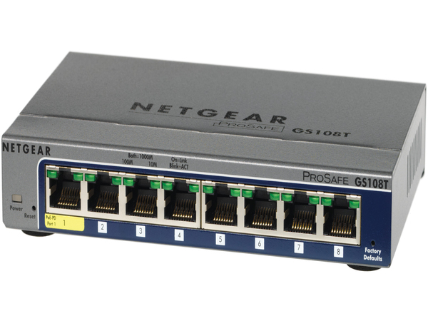 NETGEAR ProSAFE GS108T 8-Port Gigabit Smart Managed Switch - Switch - Smart - 1 x 10/100/1000 (PoE) + 7 x 10/100/1000 - Desktop - PoE