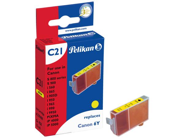 Pelikan C21 - 13 ml - Gelb - Tintenbehälter (entspricht: Canon BCI-6Y ) - für Canon BJ-S820; i99XX; PIXMA IP3000, IP4000, iP5000, iP6000, iP8500, MP750, MP760, MP780