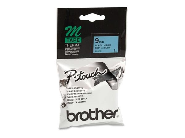Brother MK521BZ - Schwarz auf Blau - Rolle (0,9 cm x 8 m) 1 Stck. Druckerband - für P-Touch PT-55, PT-55P, PT-65, PT-65LB, PT-65SB, PT-90