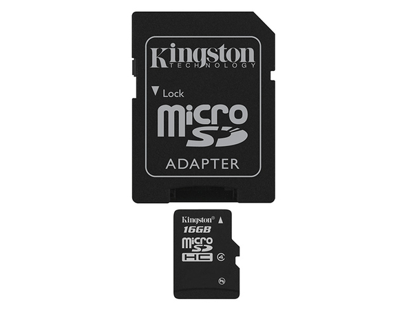 Kingston - Flash-Speicherkarte (microSDHC/SD-Adapter inbegriffen) - 16 GB - Class 4 - microSDHC