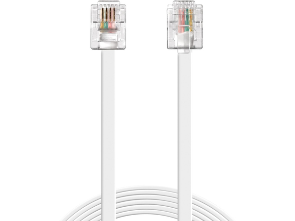 Sandberg - Telefonleitungskabel - RJ-11 (M) bis RJ-11 (M) - 10 m - weiß