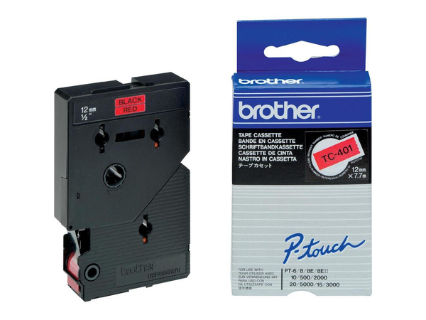 Brother - Schwarz, Rot - Rolle (1,2 cm x 7,7 m) 1 Stck. Druckerband - für P-Touch PT-15, PT-20, PT-2000, PT-3000, PT-500, PT-5000, PT-6, PT-8, PT-8E