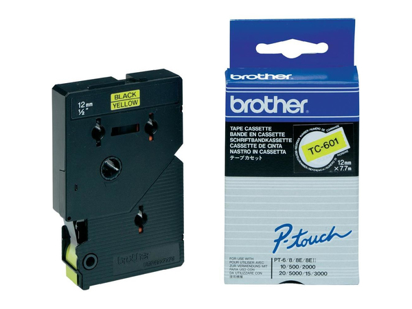 Brother - Laminiertes Band - Schwarz, Gelb - Rolle (1,2 cm x 8 m) 1 Rolle(n) - für P-Touch PT-2000, PT-3000, PT-500, PT-5000, PT-8E