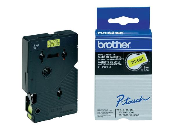 Brother - Laminiertes Band - Schwarz, Gelb - Rolle (0,9 cm x 8 m) 1 Rolle(n) - für P-Touch PT-2000, PT-3000, PT-500, PT-5000, PT-8E