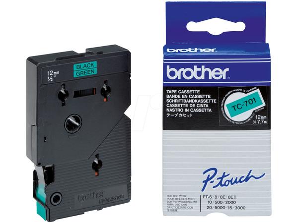 Schriftbandkassette TC701 / grün / schwarz / 7,7m / 12mm / laminiert / f. PT 8e, 500 / II / 2000 / 3000 / 5000