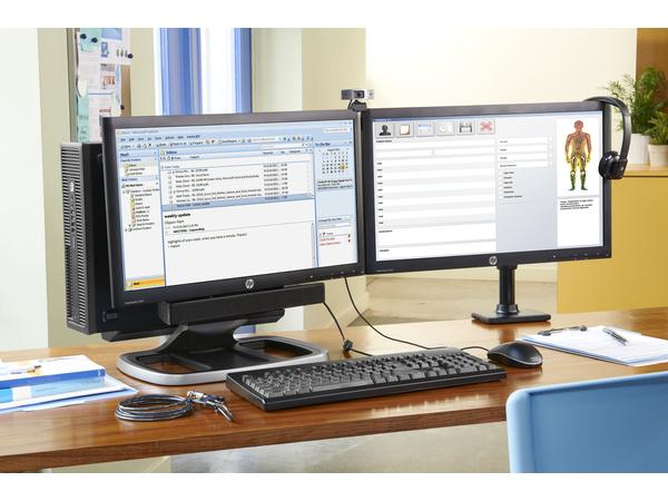 HP Single Monitor Arm - Befestigungskit (Spannbefestigung für Tisch, Tischplattenbohrung, Montagearm für Einzelbildschirm) für LCD-Display - Jack Black - Bildschirmgröße: bis zu 61 cm (bis zu