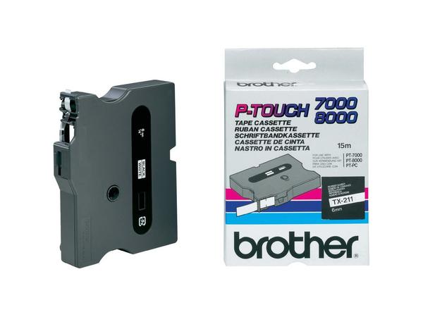 Brother TX211 - Laminiertes Band - Schwarz auf Weiß - Rolle (0,6 cm x 15 m) 1 Rolle(n) - für P-Touch PT-7000, PT-8000, PT-PC