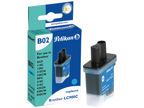 Pelikan B02 - 14 ml - Cyan - Tintenpatrone (entspricht: Brother LC900C ) - für Brother DCP-115, 117, 120, 315, 340, MFC-215, 3240, 3340, 410, 425, 5440, 5840, 640, 820