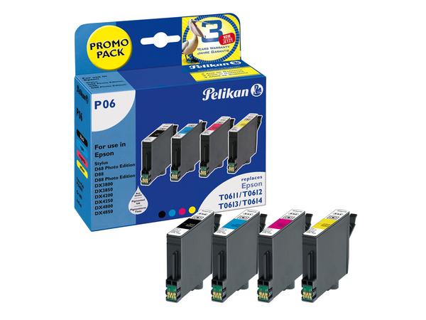 Pelikan Promo Pack P06 - 4er-Pack - Schwarz, Gelb, Cyan, Magenta - Tintenpatrone (entspricht: Epson T0611, Epson T0612, Epson T0613, Epson T0614 ) - für Epson Stylus D68, D88, DX3800, DX3850,