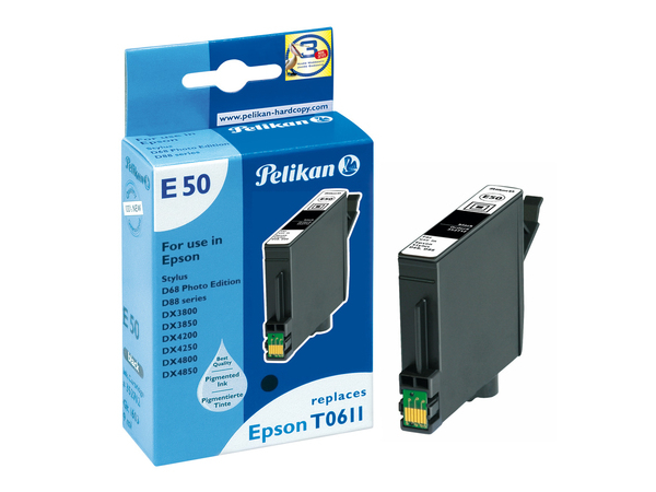 Pelikan E50 - 9 ml - Schwarz - Tintenpatrone (entspricht: Epson T0611 ) - für Epson Stylus D68 Photo Edition, D88, DX3800, DX3850, DX4200, DX4250, DX4800, DX4850