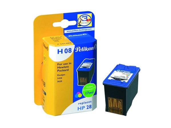 Pelikan H08 - 17 ml - High Capacity - Farbe (Cyan, Magenta, Gelb) - Tintenpatrone (entspricht: HP 28 ) - für HP Deskjet 35XX, 36XX, 37XX, 38XX; Fax 1240; Officejet 41XX, 42XX; psc 12XX, 13XX,