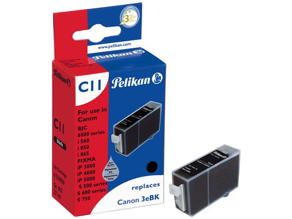 Pelikan C11 - 27 ml - Schwarz - Tintenbehälter (entspricht: Canon BCI-3eBk, Canon BCI-3Bk ) - für Canon BJ-S530; BJC-6200; i550; PIXMA IP3000, IP4000, iP5000; S400, 520; SmartBase MP730