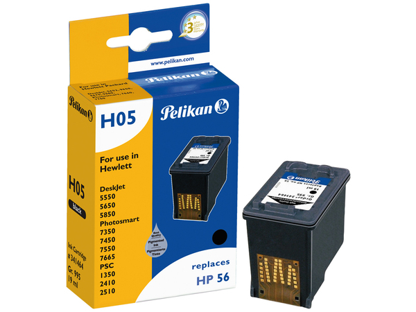 Pelikan H05 - 19 ml - Schwarz - Tintenpatrone (entspricht: HP 56 ) - für HP Deskjet 51XX; Officejet 42XX, 56XX, J5508, J5520; Photosmart 7550; psc 1110, 12XX, 13XX